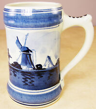 Vintage DELFT BLAUW BLUE DUTCH BEER MUG Holland Hand Painted Windmill 4.75""