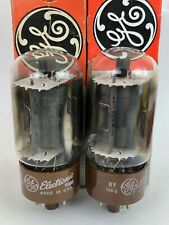 GE 7581A KT-66 UPGRADES 6L6GC MATCHED PAIR CLEAN-POWER TUBES  BROWN BASE NOS
