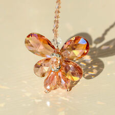 Pink Butterfly Drops Crystal Chandelier Lamp Prisms Hanging Pendants Home Decor