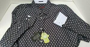 New Visconti Black Mens Shirt Diamond White Multi Cuff Flip 2XLT 2X NWT 3553BT