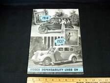 1937 Dodge Car Dealer Sales Brochure Catalog