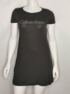 Calvin Klein Womens Sleepwear Nightgown Logo Print Black Size Medium