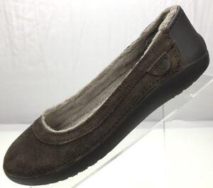 Crocs Flats - Leather Ballet Loafers Brown Suede Faux Fur Women's Size 7 US