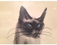 "Mid-Century Watercolor Print Da Wei Kwo Sitting Cat ""Sheba"" 1959 Kwo Art Studio"