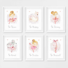 Ballerina Princess Girls Baby Nursery Prints Childrens Bedroom Pictures Decor