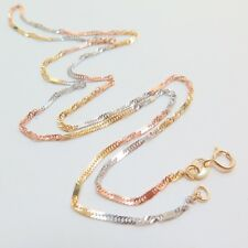 Real 18k Multi-tone Gold Necklace Women Singapore With Spacer Link Chain 2-2.5g