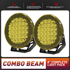 CREE 8 inch LED Driving Lights Spot Pair Offroad Combo Work Round Spotlight HID