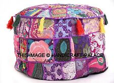 Patchwork Embroidered Round Pouf Indian Cotton Ottoman Footstool Moroccan Pouffe