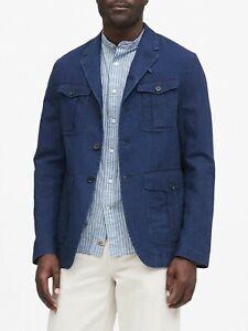 Banana Republic Denim Linen Utility Field Jacket Blazer Men's size 40R Slim