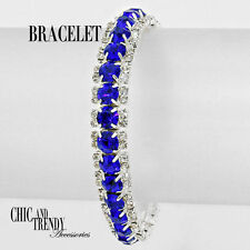 CLASSIC BLUE CLEAR CRYSTAL BRACELET BRIDESMAID FORMAL WEDDING JEWELRY CHIC TREND