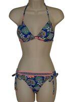 Hobie blue floral push up halter bikini size L swimsuit new
