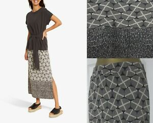 NEW £49 White Stuff Warli Maxi Skirt Jersey Abstract Print Charcoal Summer 8-18