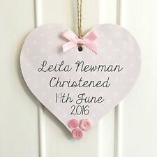 Personalised Christening Gift Handmade Wooden Plaque Sign Keepsake Heart or Star