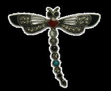 CUTE CRYSTAL BLACK DRAGONFLY PIN BROOCH MADE WITH SWAROVSKI ELEMENTS