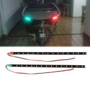 "2x 12"" 12V Red&Green Waterproof LED Strip Light for Bow Boat Marine Navigation"