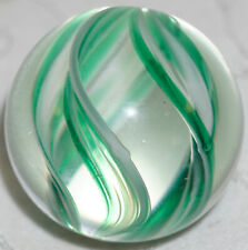 """Contemporary Artist Made Marble Triple Ribbon of White & Green in Clear 1 9/16"""""""
