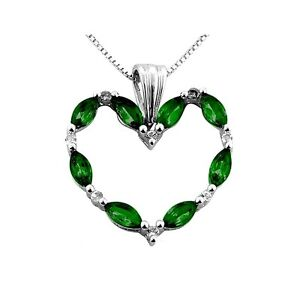 Russian Chrome Diopside Heart Pendant White Topaz Italian chain sterling silver