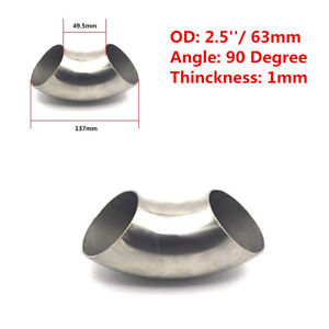 2.5'' 63mm OD 201 Stainless Steel 90 Degree Exhaust Weld Bend Elbow Pipe Fitting