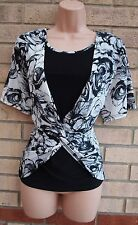AME SMITH WHITE BLACK KNOT LYCRA FLORAL BLOUSE TUNIC TOP CAMI VEST 20