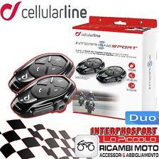SPORT CELLULARLINE INTERFONO MOTO INTERPHONE CASCO PACK DOPPIO BLUETOOTH