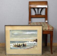SIGNIERT AQUARELL ÄLTER 1959 FISCHER PORTUGAL KÜSTE AKADEMISCH MARINE seascape