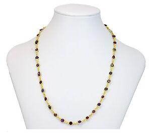 Multiple Gemstone Necklace Bezel Set Garnet Topaz Aqua 14k gold Plate 24 Inch