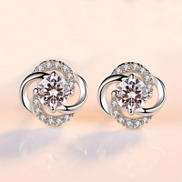 Crystal Swirl Stone Stud Earrings 925 Sterling Silver Womens Girl Jewellery Gift