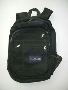 JANSPORT All-Black MULTI-POUCH BACKPACK Hike Camping School Laptop Book Gym Bag