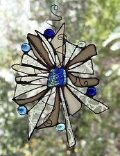 WILD FLANNEL FLOWER with OPAL CENTRE Abstract Handmade Stained Glass SUNCATCHER