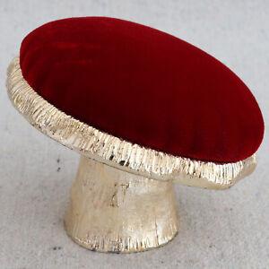 Vintage Gold Tone Metal Red Velvet Mushroom Figural Pin Cushion Fairy Gnome Elf