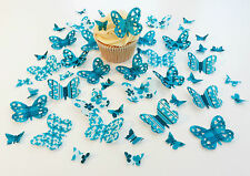 48 Edible Turquoise Heaven Heart Detail Butterflies PreCut Wafer Cupcake Toppers