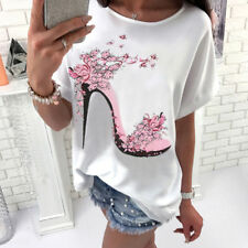 UK Summer Womens Tops Blouse Ladies Batwing Short Sleeve T-Shirt Plus Size 8-22