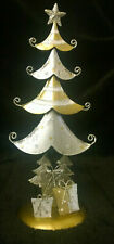 SILVER & GOLD CHRISTMAS TREE XMAS DECORATION CHAMPAGNE & GLITTER