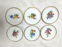 Set of 6 Kaiser 14 carat gold rim  China Butter/Tea Bag Miniature Plates Floral