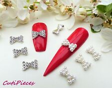 5 Styles 3D Nail Art Silver Pearl Sparkly *Rhinestone Bows* Bow Tied Alloy Metal