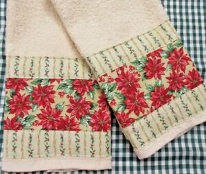 Floral fabric w/ POINSETTIAS IN RED (2) Fall Colors Custom Hand Towels