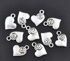 10 Plata Tibetana Rose Encantos Corazón Colgante