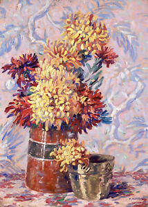 HENRI AURRENS (1873-1934) SIGNED FRENCH OIL - STILL LIFE FLOWERS - DIVISIONISM