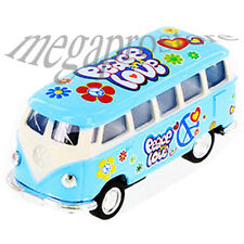 Kinsmart 1962 Volkswagen Classical Samba Bus 1:64 with Pace & Love Decal Blue