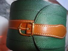 HERMES BELT GREEN LEATHER WIDE VINTAGE