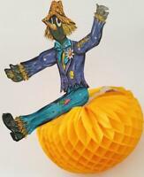 Vintage 70s BEISTLE HALLOWEEN Scarecrow Jointed Honeycomb Pumpkin Centerpiece