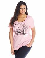 PLUS JMS JUST MY SIZE TOP Blouse Shirt Pink Ride  T-SHIRT TEE 2X 3X New