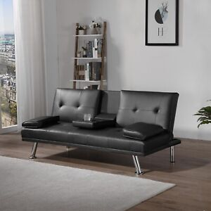 Sofa Bed Faux Leather Cupholder 3 Seater Black or Brown Chrome Legs