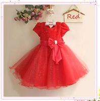 Kids Reds Christmas Party Flower Girls Dresses Outfit SIZE 2T-3-4-5-6T-7-8-9-10T