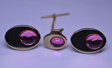 VINTAGE GOLD-PLATED OVAL PINK CABOCHON CUFFLINKS & TIE TACK SET