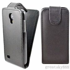 Black Flip Leather Hard Skin Holster Cover Case For Samsung Galaxy S4 Mini I9190