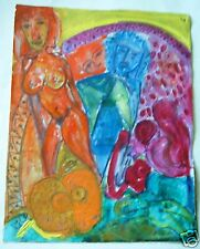 Old russian abstract painting oil canvas signature # 10