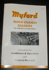 MYFORD REVISED LATHE QUICK CHANGE GEARBOX MANUAL DIRECT FROM MYFORD LTD
