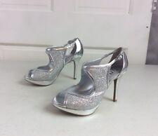 BRASH Party Heels Silver Sequin Women's 7 NEW