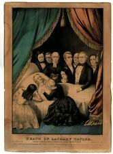 """Antique Hand-Colored Lithograph   """"Death of Zachary Taylor""""   ~170 years old"""